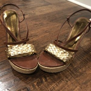 Brown gold wedge with ankle strap